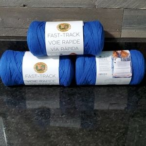 NWT 3 Skeins Lion Brand Yarn in Bicycle Blue
